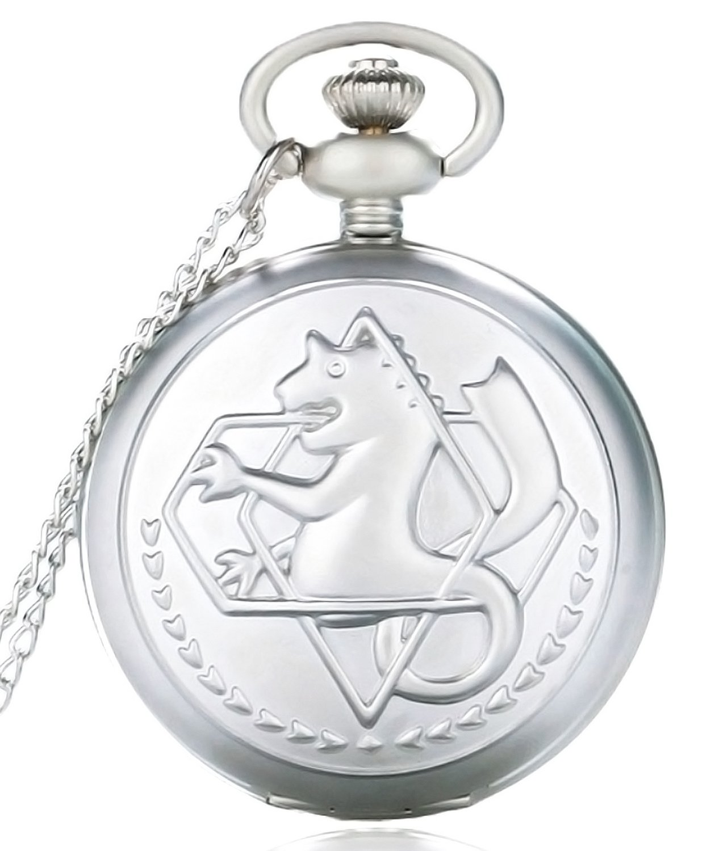 FullMetal Alchemist Edward Anime Quartz Pocket Watch Fob Chain + Gift Box (Silver)