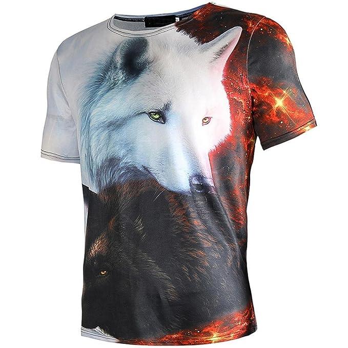 Camiseta Hombre,ZARLLE Camisetas Verano De PatróN De Lobo 3D De Manga Corta Con Cuello