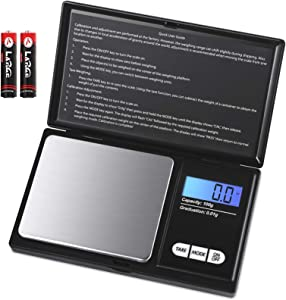 KeeKit Digital Mini Scale, 100g 0.01g/ 0.001oz Pocket Scale with 7 Units, Electronic Smart Scale with Tare & LCD Backlit Display, Portable Travel Scale for Food, Jewelry, Medicine (Battery Included)