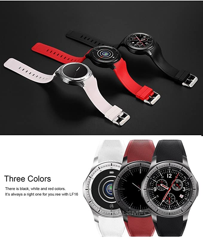 ⌚ LEMFO LF16 Bluetooth Smart Watch Phone with WiFi GPS 3G WCDMA Android Smartwatch Wristwatch Wearable Devices (Gray and red)