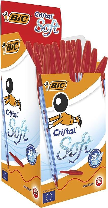 BIC Cristal Soft bolígrafos punta media (1,2 mm) - Rojo, Caja de ...