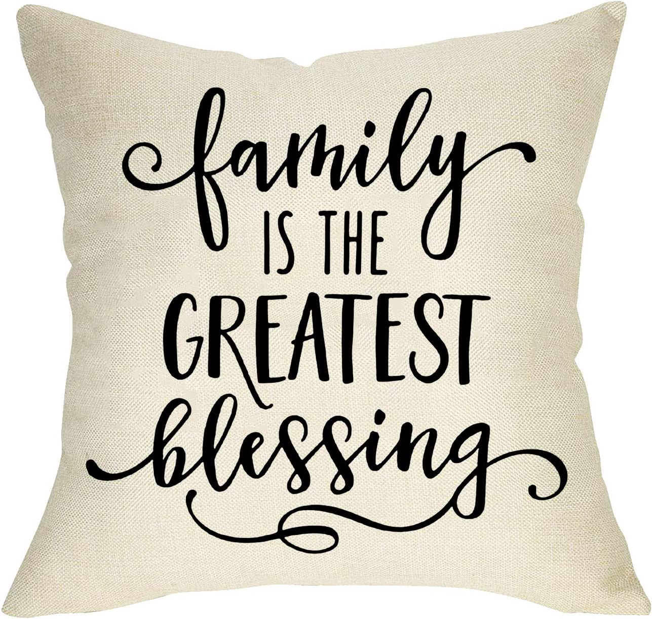 Softxpp Family is The Greatest Blessing Rustic Throw Pillow Cover, Decorative Farmhouse Quotes Cushion Case Home Square Pillowcase Decor for Sofa Couch Decorations Cotton Linen 18'' x 18''