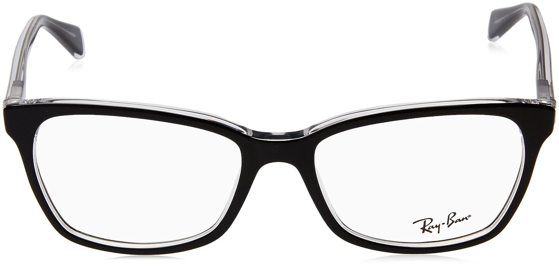 1d677885cc Amazon.com  Ray-Ban Women s 0rx5362 No Polarization Square Prescription  Eyewear Frame Top Black on Transparent 54 mm  Clothing