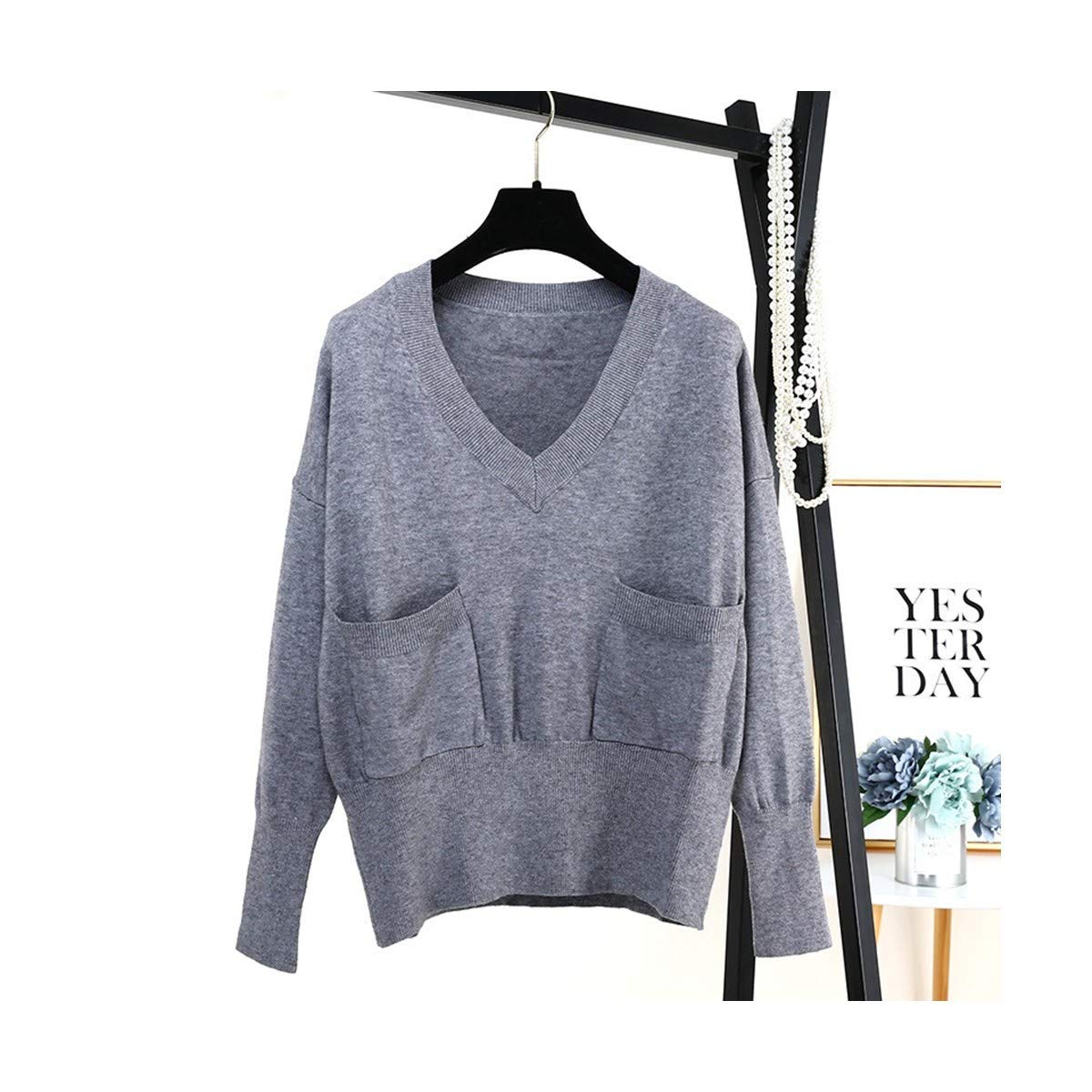 BRNEBN Autumn Women V-Neck Sweater Pullover Sweaters with Front Pocket Dropped Shoulder Crop Tops