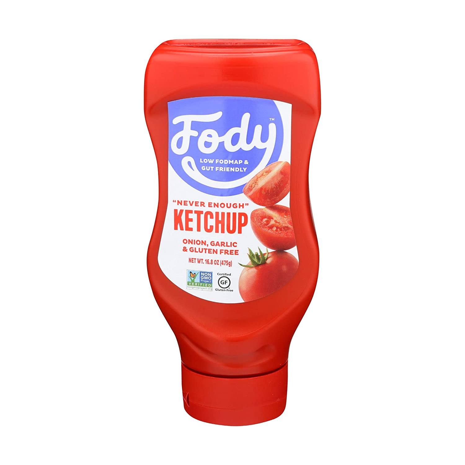 Fody Foods Vegan Tomato Ketchup | Low FODMAP Certified | Gut Friendly No Onion No Garlic | IBS Friendly Condiment | Squeeze Bottle | All Natural Gluten Free Non GMO | 16.8oz