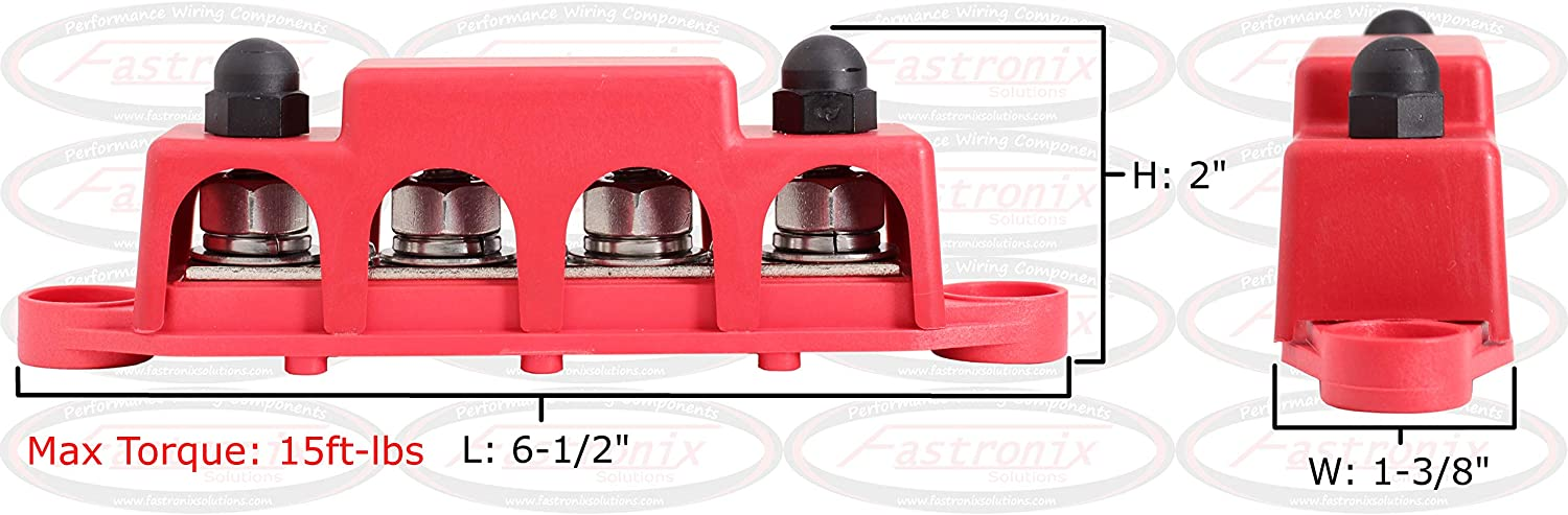Fastronix 3//8 4 Stud Power and Ground Distribution Block with Cover
