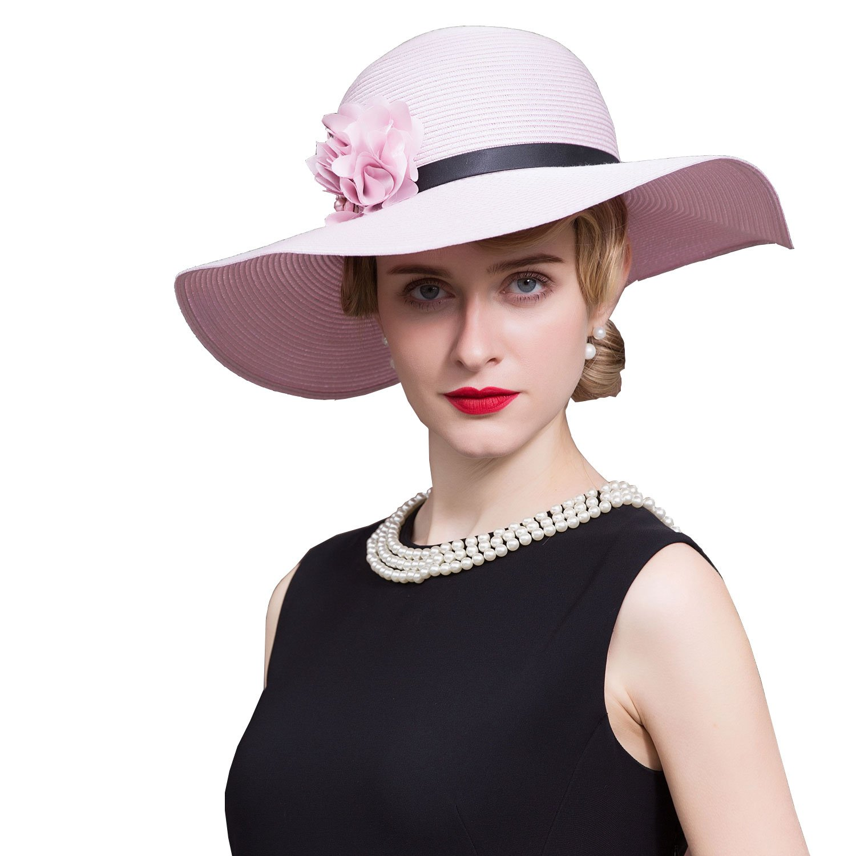 HomArt Women's Bohemia Wide Brim Beach Hat Bowler Sun Hat Triple Crown of Thoroughbred Racing Hat, Pink