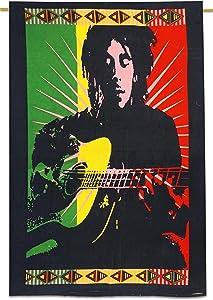 Sophia-Art Hanging Tapestry Cotton Multicolored Decor Handmade Bob Marley Indian Ethnic Vintage Wall Unique Poster (Bob Marley-6)