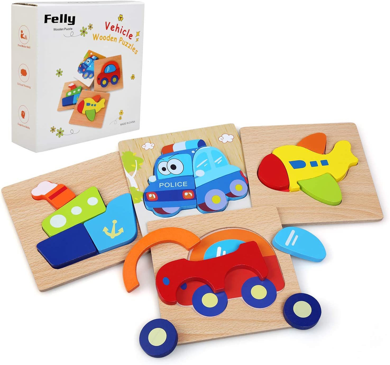Felly Juguetes Bebes, Puzzles de Madera, Juguetes Montessori para Bebé, Juguetes Educativos niños 1 año 2 3 4 5 6 años, Dibujo de Auto Colorido con Placa, Regalo de cumpleaños, Navidad …