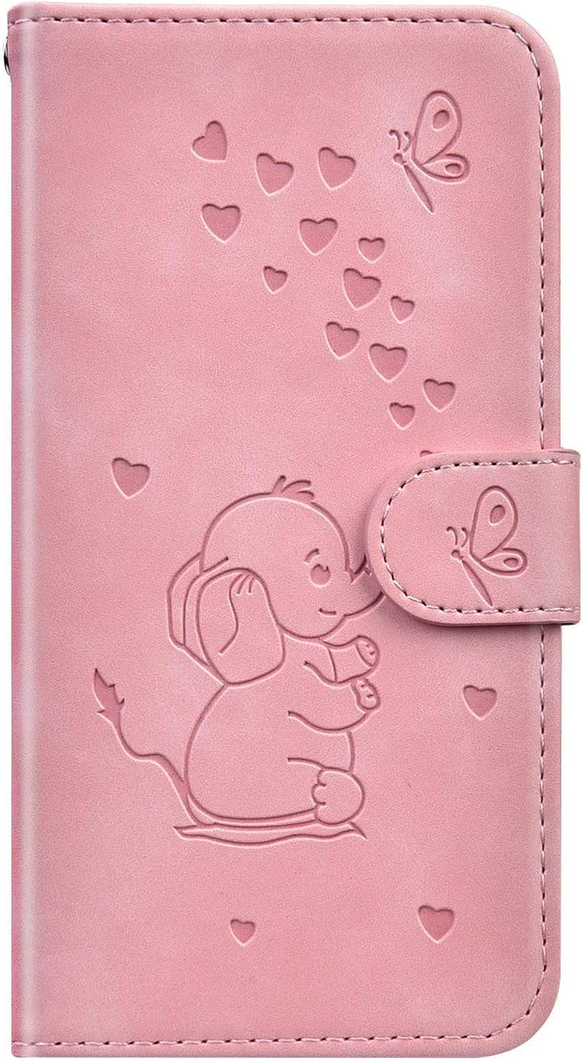 JAWSEU Compatible with Samsung Galaxy Note 9 Flip Case Cute Elephant Butterfly Design PU Leather Wallet Folio Stand Cover Front and Back Full Body Magnetic Closure Case with Card Holders,Pink