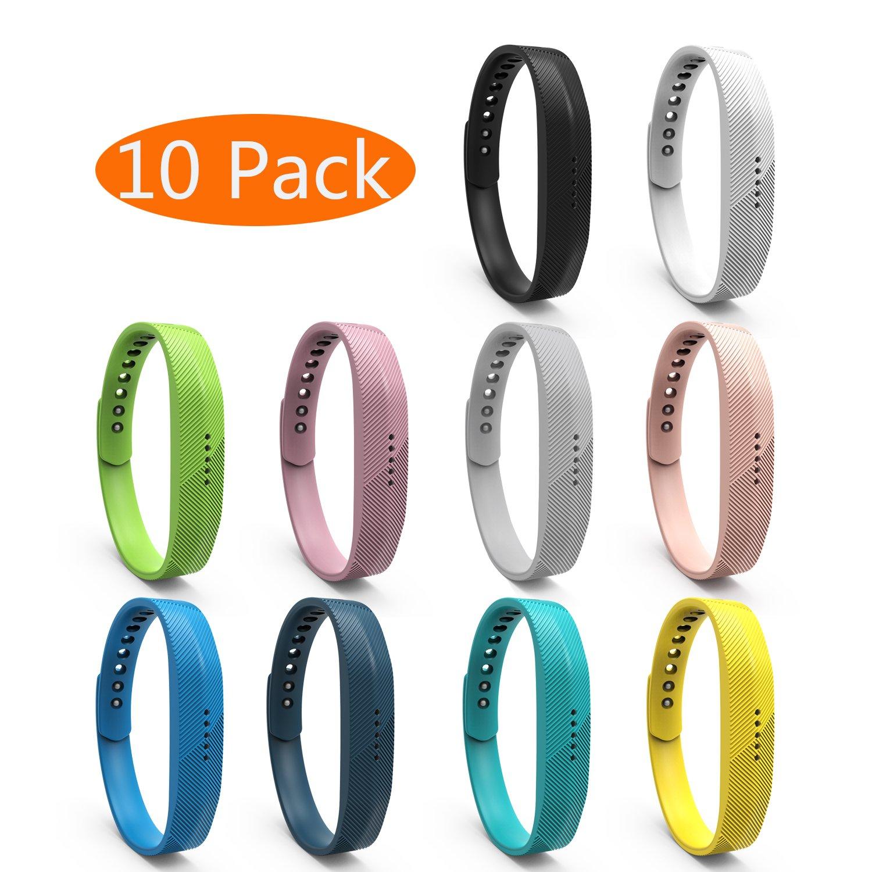 Fitbit Flex 2バンド、kingaccソフトアクセサリー交換バンドFitbit Flex 10-Pack 2 Colorful withメタルバックルフィットネスリストバンドストラップブレスレットレディースメンズLarge 2 Smallブラック、ホワイト、グレー、ブルー、ピンク、ローズ、レッド B079NZFXL5 A# 10-Pack Colorful Series Small(5.5