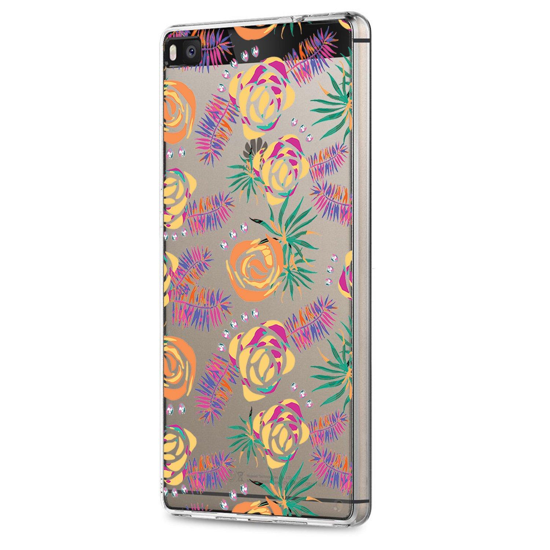 Huawei P8/Huawei P8 Lite 2015 Funda,Ultra Thin Negro Silicona Espejo Carcasa para Protectora Delgado Protección Cáscara Cristal Templado Case Bumper de Protector