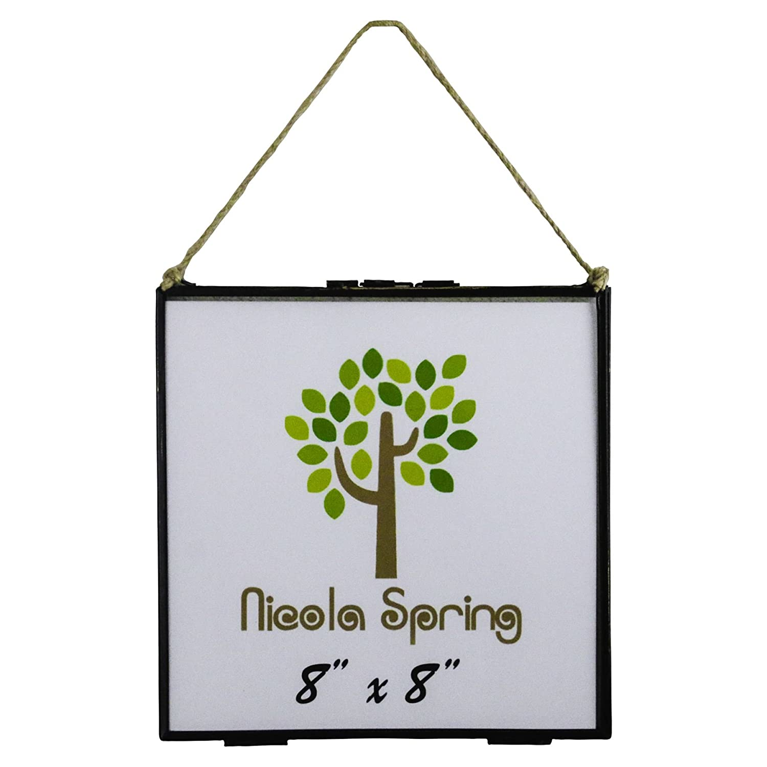 8x8 Photos Nicola Spring Glass Photo Frame with Vintage Style Hanging Rope