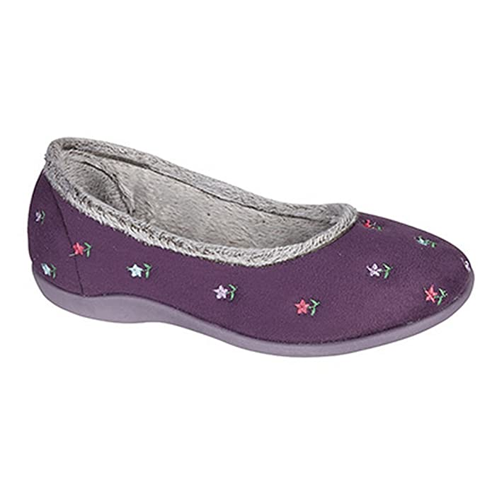 Sleepers Damen Angel Ballerina-Hausschuhe / Pantoffeln mit Blumenmuster (41 EUR/8 UK) (Marineblau) tWNIN