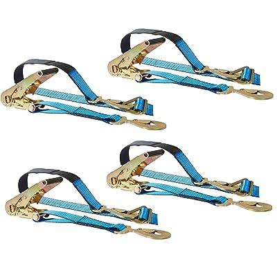 Mytee Products 4 Axle Straps Race Car Trailer Car Hauler Ratchet Tie Down Strap w/Snap Hooks: Automotive