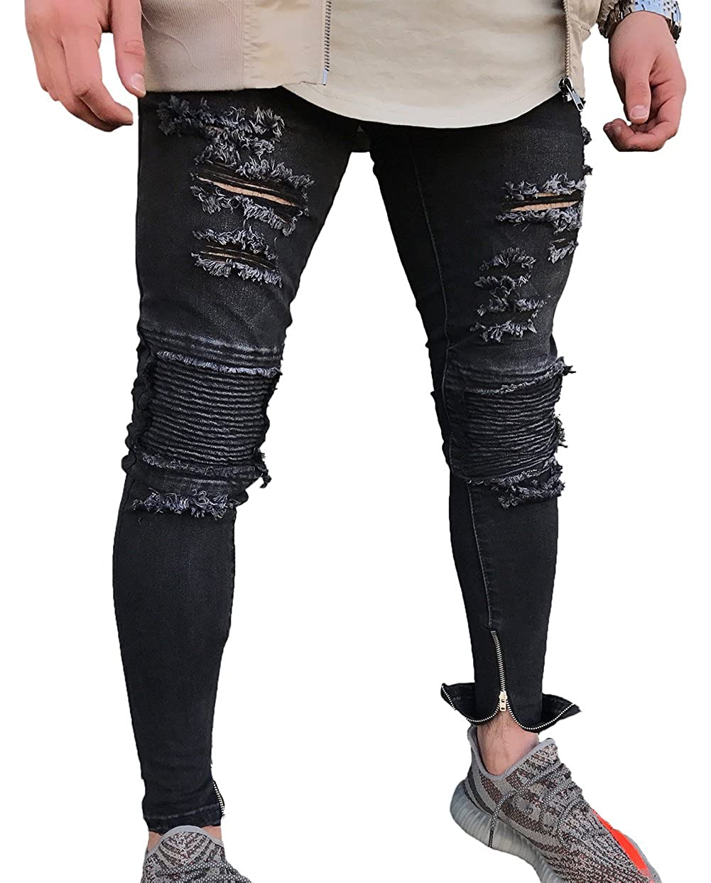 e81d4d392c57 XARAZA Men s Ripped Skinny Jeans Slim Fit Denim Pencil Pants at Amazon Men s  Clothing store