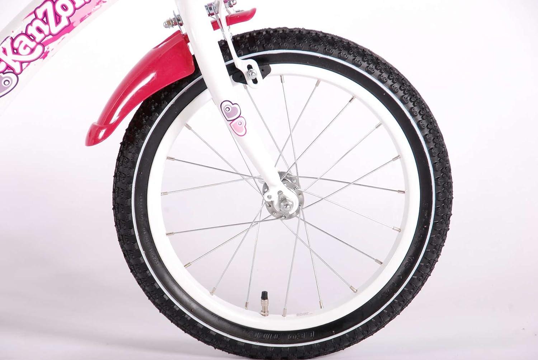 bicicleta niño de 16 pulgadas Kanzone ruedas canasta de 4 5 6 años de edad blanco rosa: Amazon.es: Deportes y aire libre