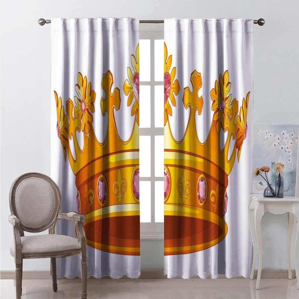 Toopeek Queen - Cortina de aislamiento térmico con corona de color dorado con piedras preciosas rosas, símbolo de nobleza para sala de estar o dormitorio (84 x 84 cm), color amarillo claro