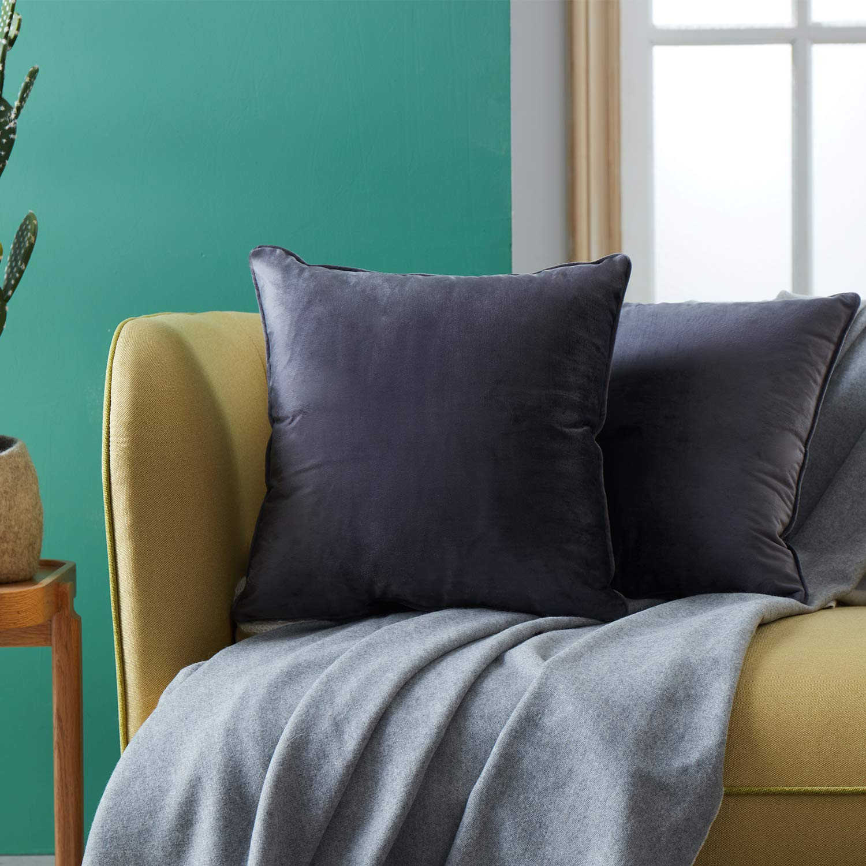 Topfinel Lot de 2 Housses de Coussin Doux en Velours Couleur Unie Carr/é D/écoration pour Canap/é Chambre 50x30cm ,Violet