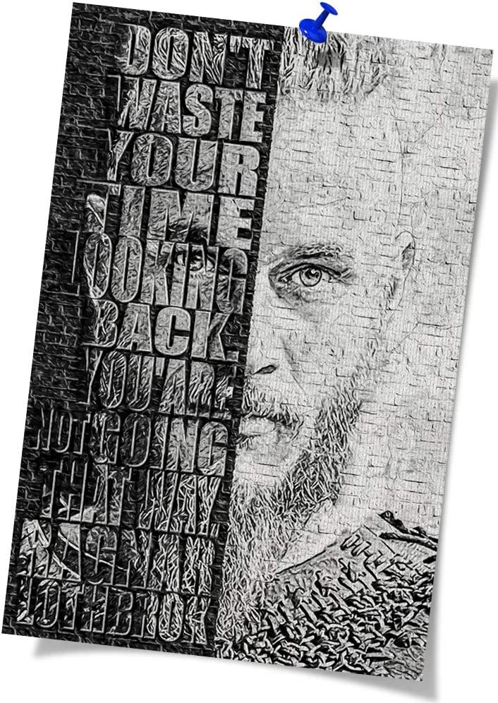 Black and White Painting Viking Poster Ragnar Poster Canvas Painting Modern Canvas Wall Art Modern Home Decoration (16x24 inch Unframed,Black)