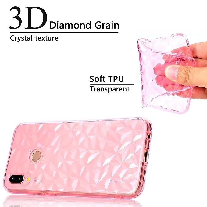 WindTeco Funda Huawei P20 Lite, [Liquid Crystal] Ultra-Delgado Funda Transparente Silicona Diamante Case TPU Bumper Shock-Absorción Carcasa Protectora Claro ...