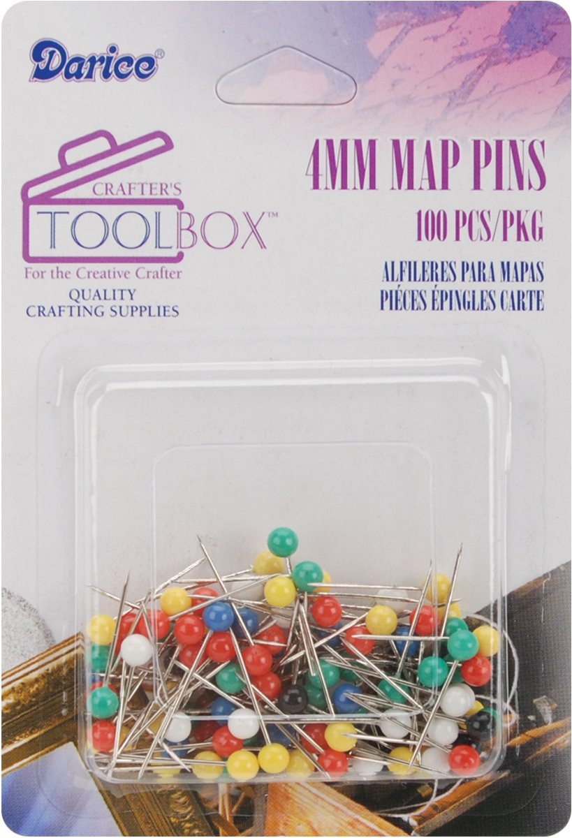 Darice 4Mm Map Pins with Colored Heads, Assorted Color 1167-16
