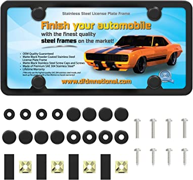 Rust proof 2 pcs with bolts license plate durable Black car license plates US standards sturdy black matt finish Stainless steel license plate slim and sleek design corrosion resistant