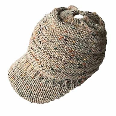 fee28c45c7c7 iShine Bonnet Chaud en Maille Femme Casquette de Baseball Tricotée Chapeau  de Visière avec Bord pour