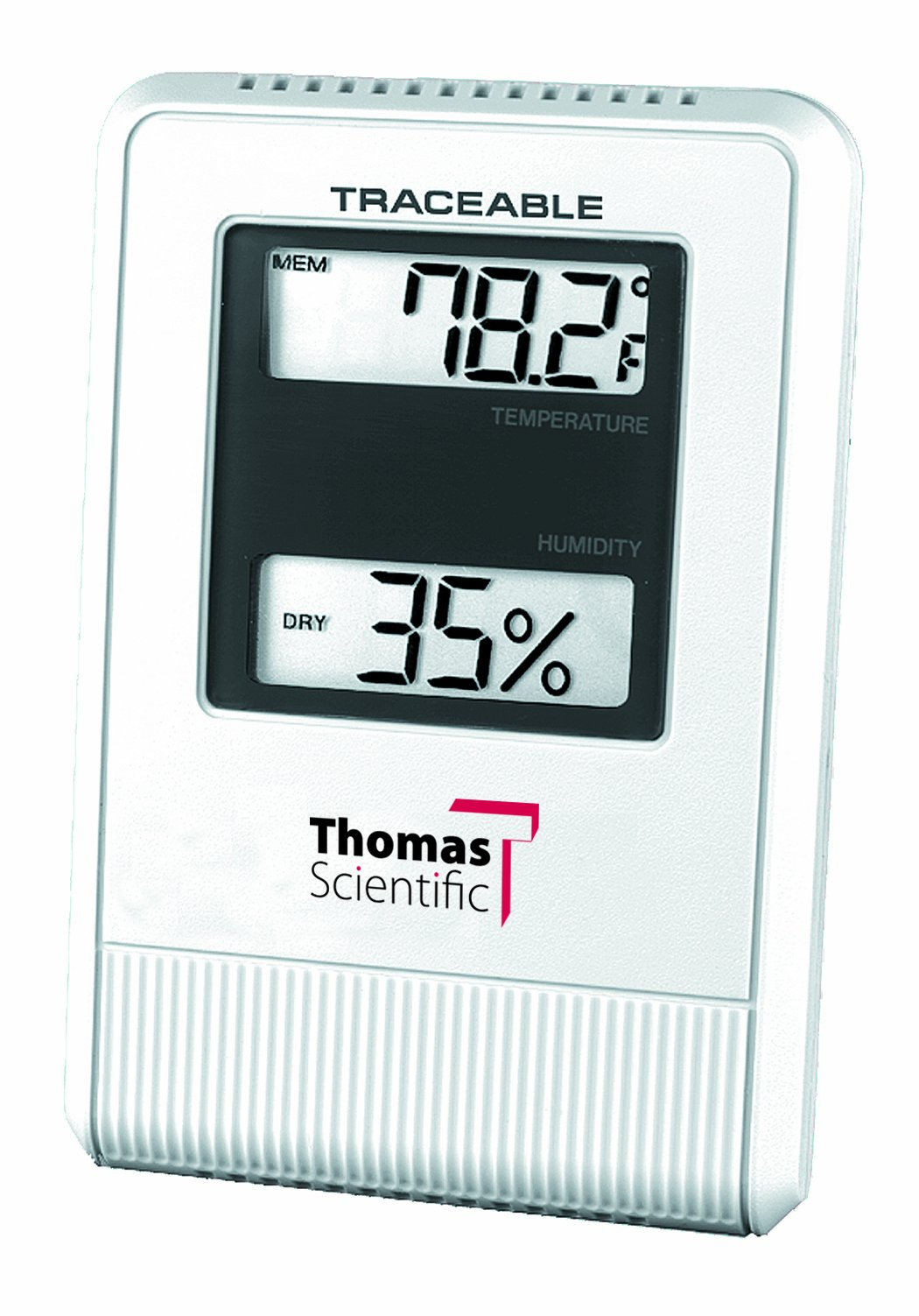 Thomas ABS Plastic Traceable Hygrometer/ Thermometer, with 1/2'' High 2 Line LCD Display, -58 to 158 degree F, -50 to 70 degree C, humidity 25 to 95%