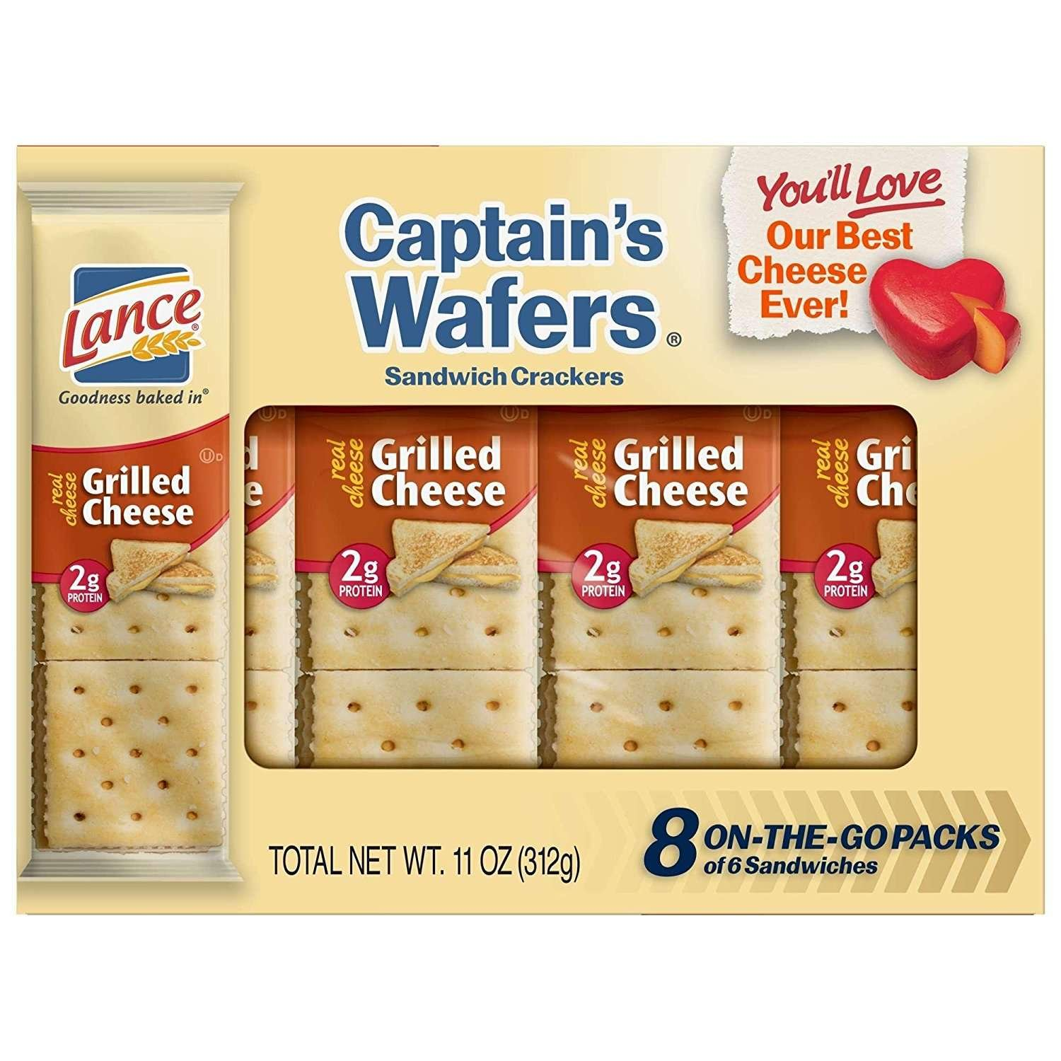 Lance Captain's Wafer Sandwich Crackers, Grilled Cheese, 8-Count (Pack of 14)