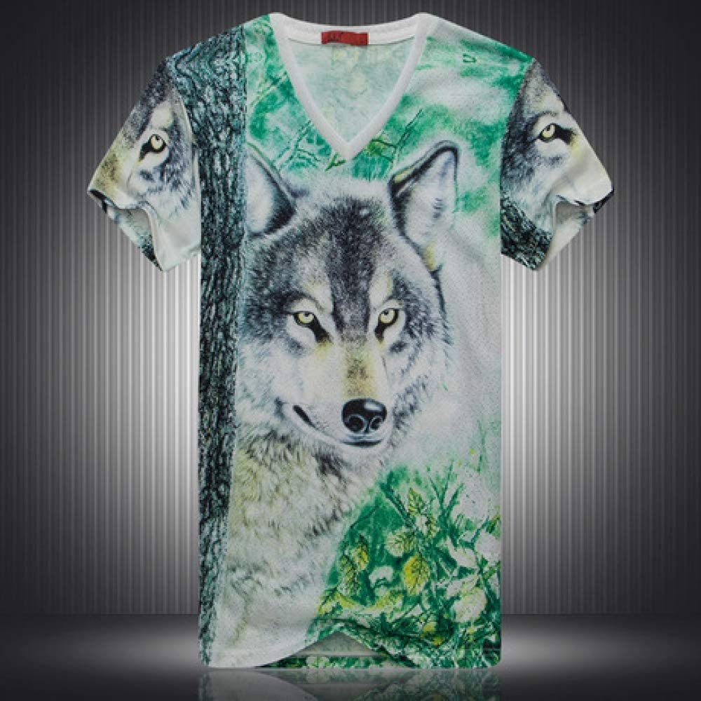 Short-Sleeved T-Shirt Personality Wolf Head 3D Digital Print Half-Sleeved Shirt