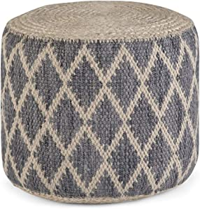 SIMPLIHOME Edgeley Round Pouf, Footstool, Upholstered in Grey, Natural Woven Braided Jute and Cotton, for the Living Room, Bedroom and Kids Room, Boho, Contemporary, Modern