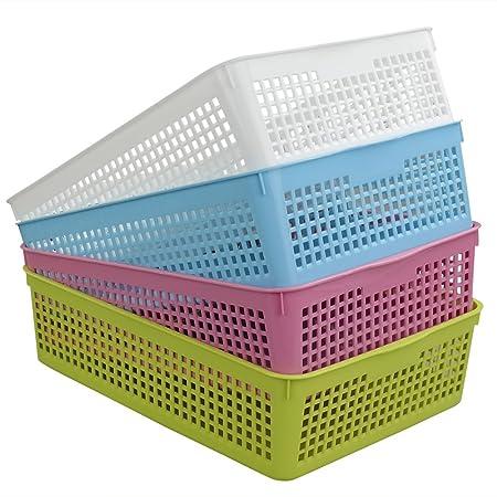Hokky Plastic Storage Basket Sets 6-Pack White Baskets Tray medium