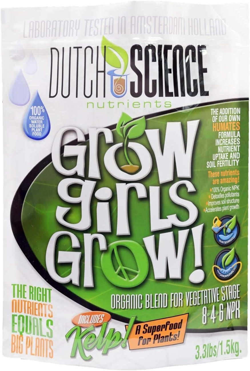 Dutch Science Nutrients 100% Organic Grow Girls Grow Plant Nutrient Fertilizer for Vegetative Stage Plants (3.3 lb)