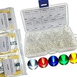 300PCS 3mm e 5mm trasparente diodi a luce LED 5colori assortiti con 315PCS 1/4W, 1% di tolleranza, resistori a film metallico