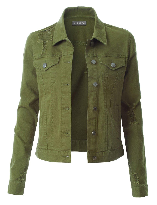 LE3NO Womens Vintage Distressed Long Sleeve Ripped Boyfriend Denim Jacket