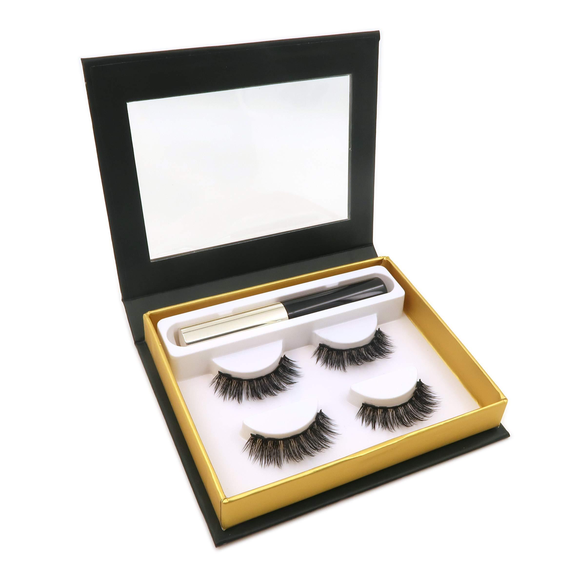 Magnetic False Eyelashes with Magnetic Liquid Eyeliner Set Including 2 pairs Magnetic Eyelashes-No Glue (Magnetic Eyeliner and Magnetic Eyelashes sets)