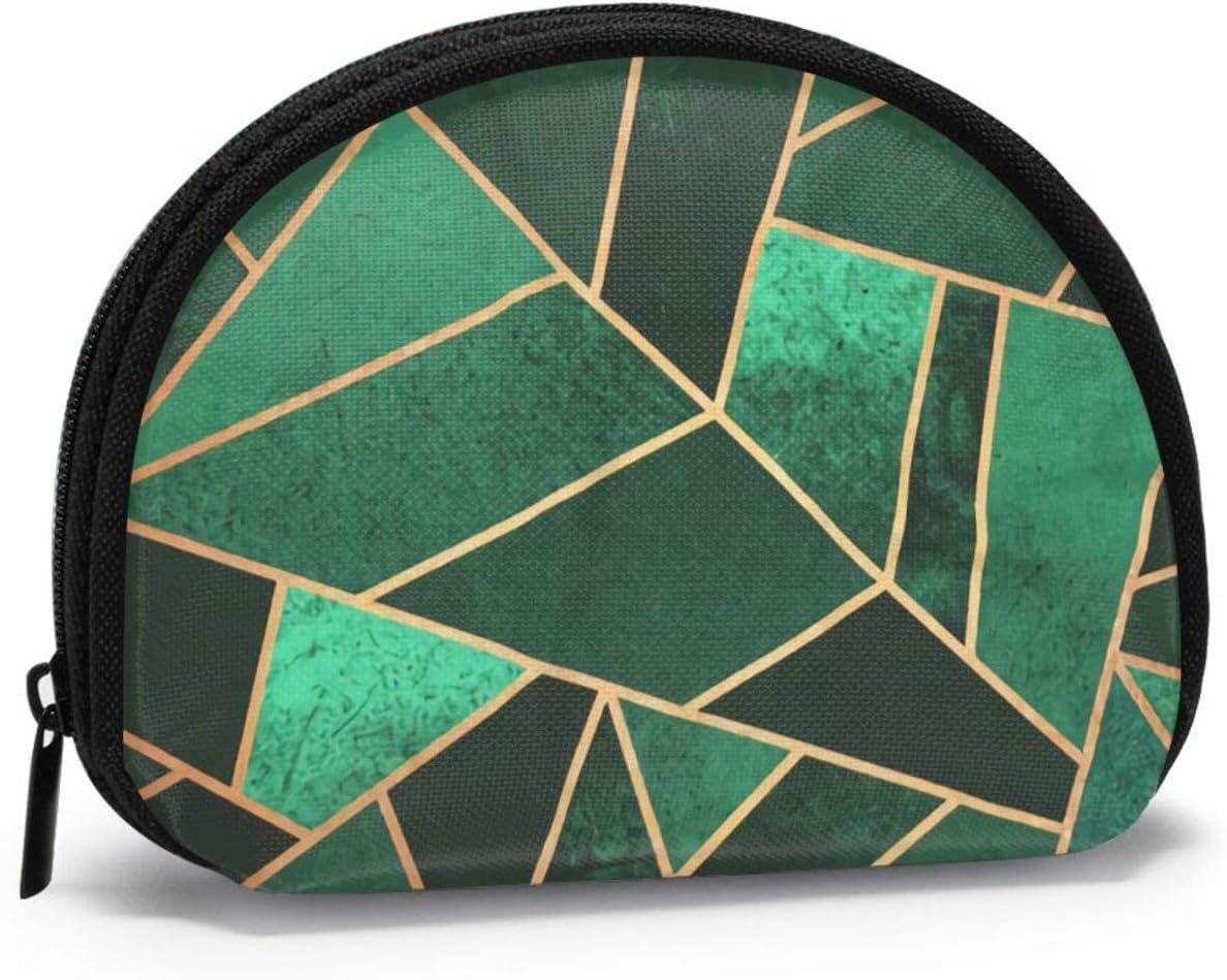 Bolso de monedero pequeño esmeralda y cobre con cremallera para mujeres y niñas