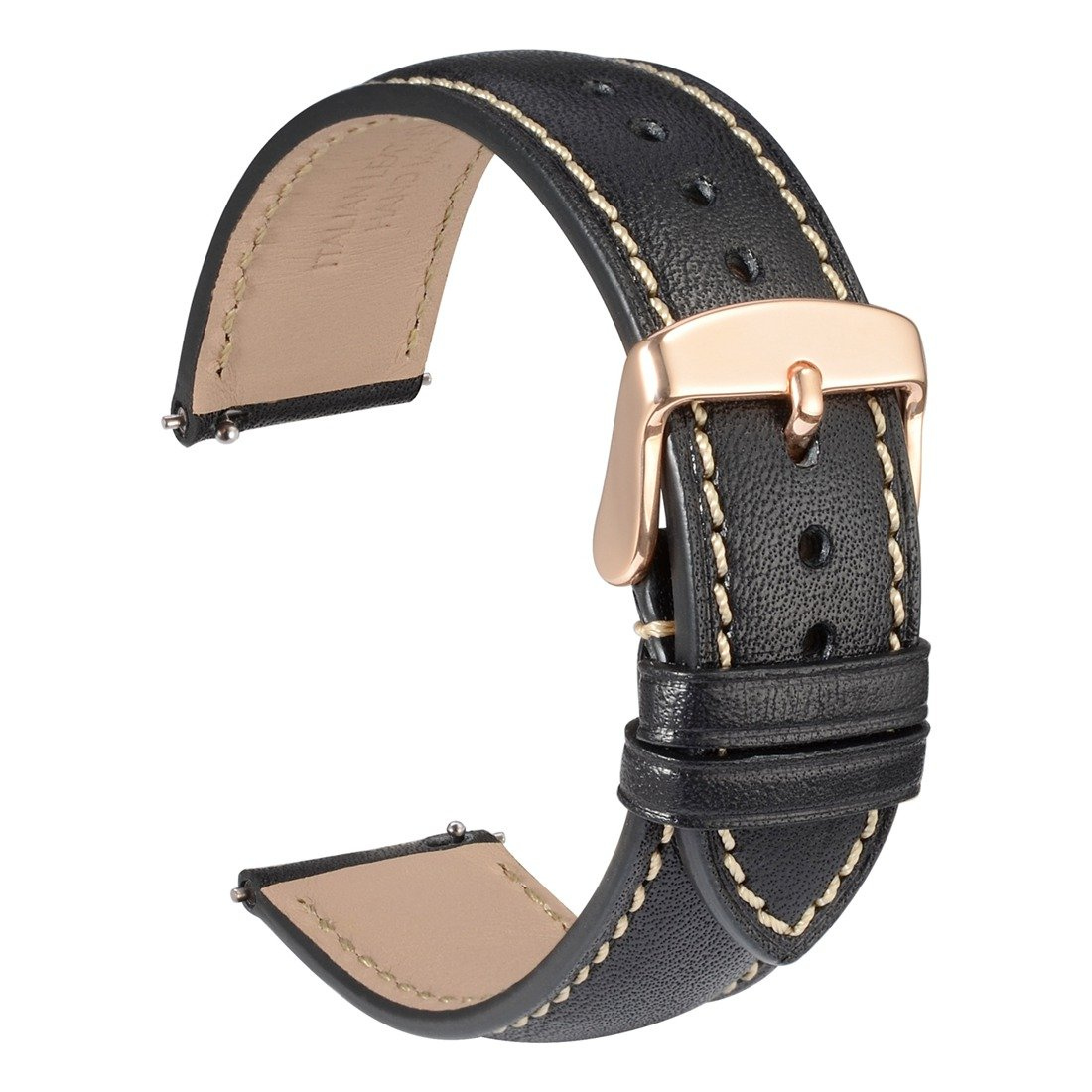 WOCCI 18mm Full Grain Leather Watch Band with Rose Gold Buckle, Quick Release Strap(Black with Contrasting Seam)