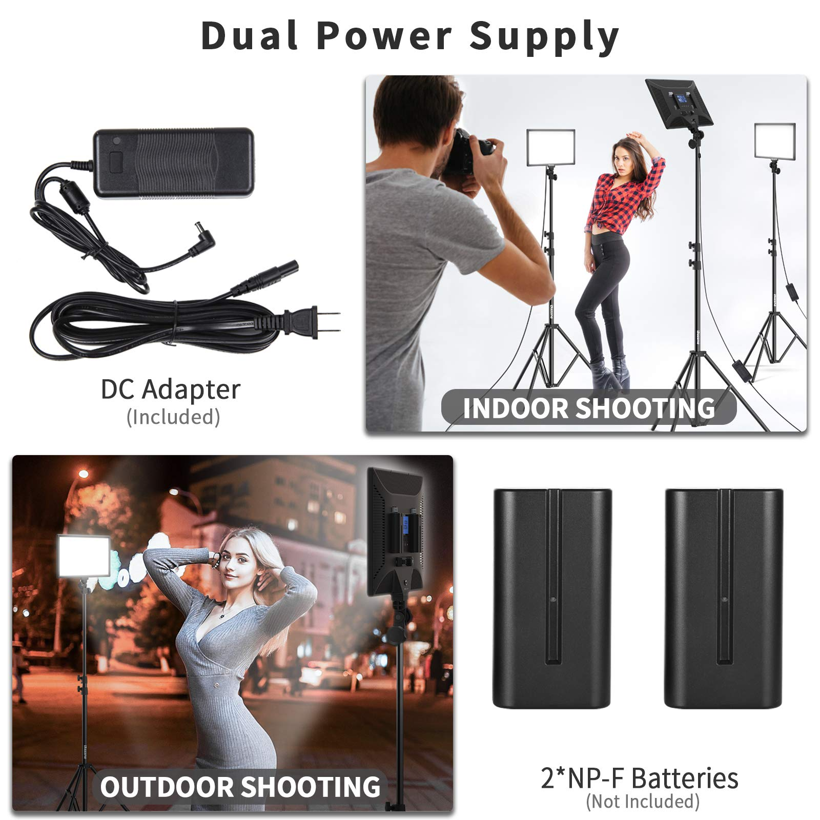 Bi-Color LED Video Light Stand Lighting Kit 3 Pack 15.4'' Large Panel 3000K-5800K 45W 4800LM Dimmable 1-100% Brightness Soft Light for YouTube Game Video Shooting Live Stream Photography Lighting by Dazzne (Image #3)