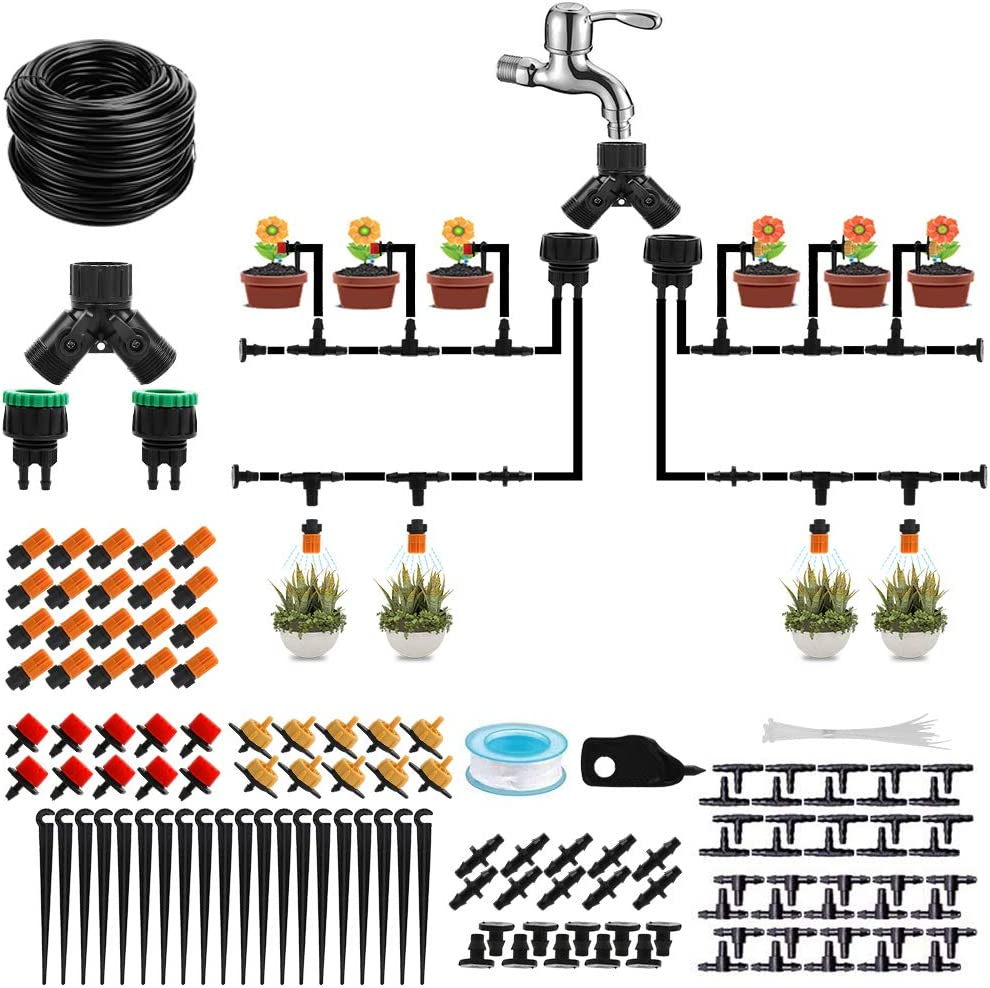 """Drip Irrigation Kit,131ft 1/4"""" Tubing Garden Watering Sprinkler System for Potted Plant,DIY Adjustable Water-Saving Automatic Micro Irrigation Drippers Setfor Raised Flower Bed Greenhouse Lawn Patio"""