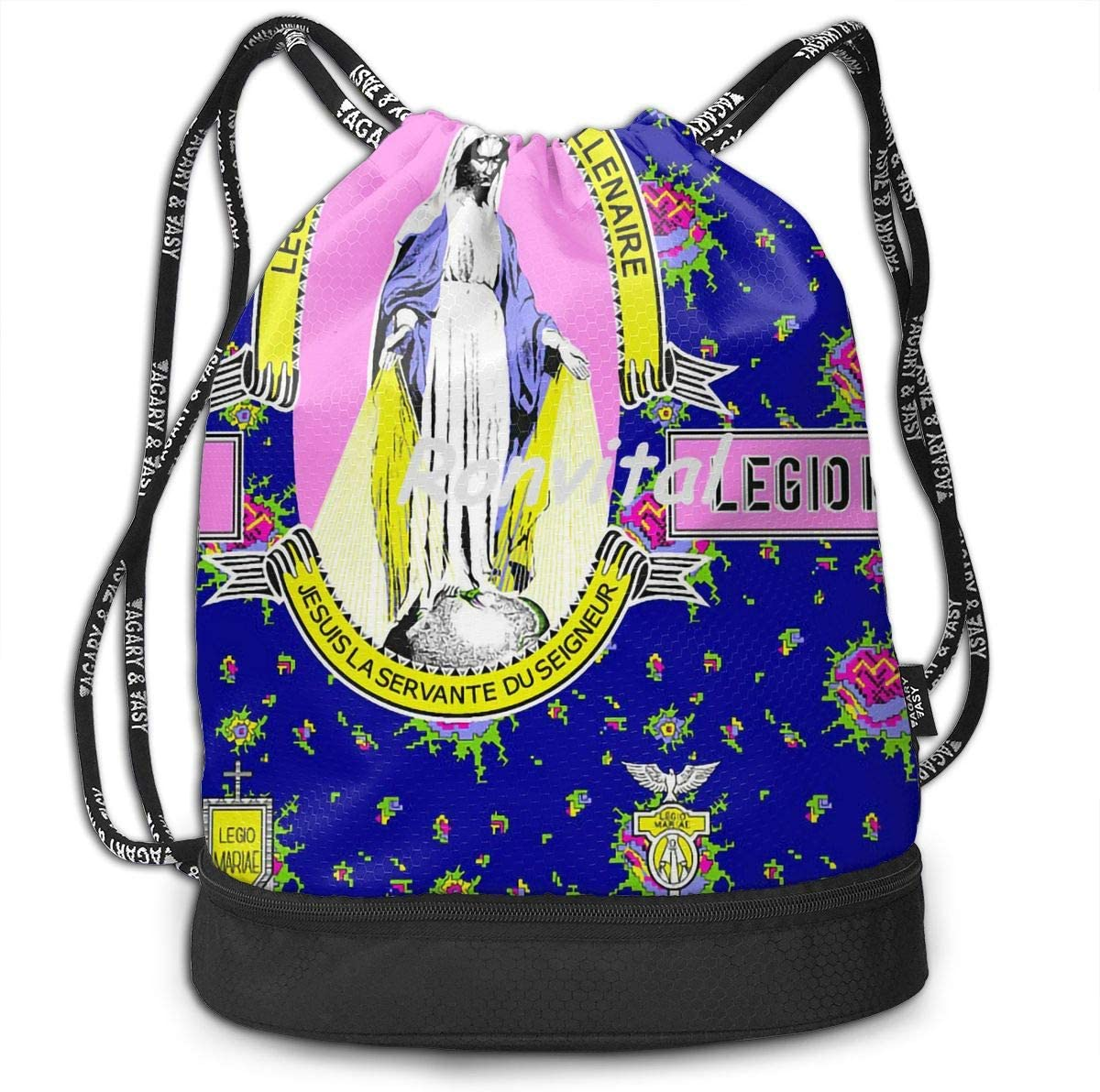 Drawstring Backpack Virgin Mary Religious Catholic Gym Bag