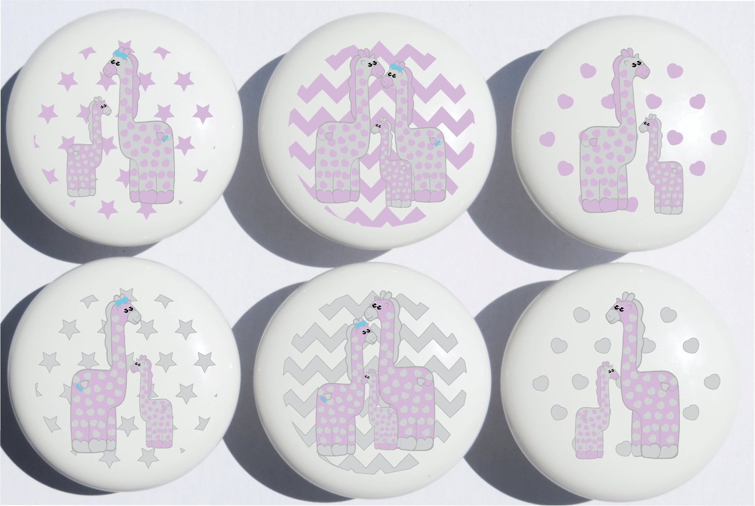 Purple Giraffe Drawer Pulls/Safari Ceramic Cabinet Drawer Knobs/Giraffe Nursery Decor/Set of 6 (Purple Giraffe)