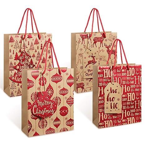 Coogam - 24 bolsas de papel kraft con purpurina y etiquetas ...