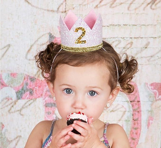 Diadema de cumpleaños para niña de 2 años, corona dorada