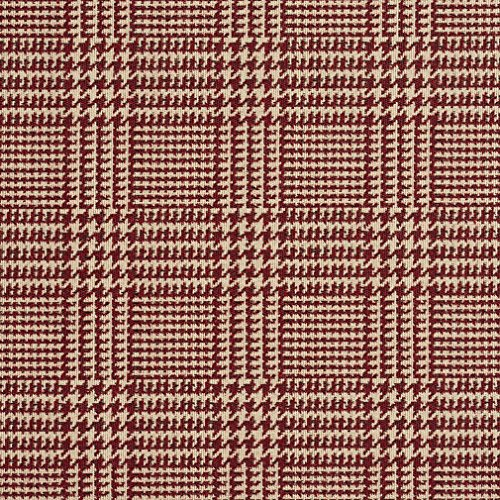 A941 Deep Red and Beige Houndstooth Woven Jacquard Upholstery Fabric By The Yard (Upholstery Houndstooth Fabric)