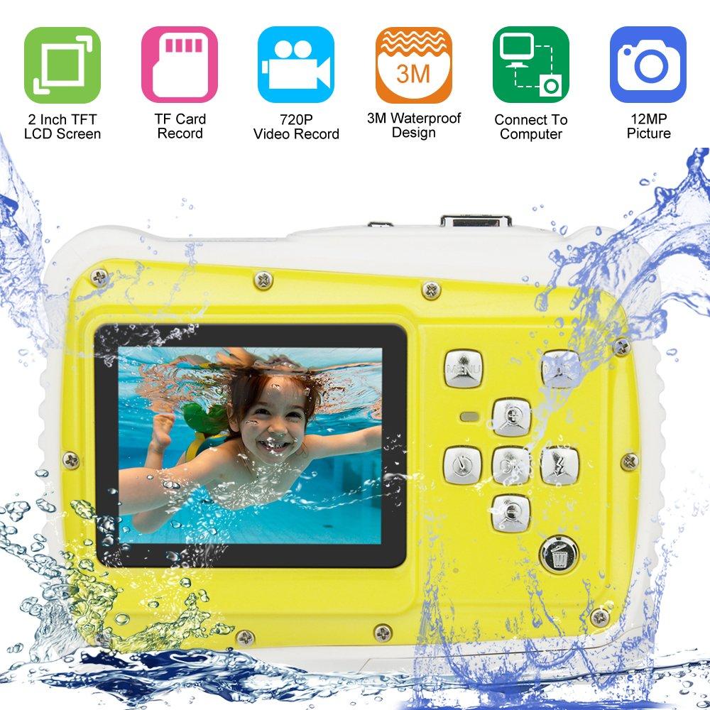 Camara Fotos Niños, Pixel 12M Cámara a Prueba de Agua con Pantalla LCD TFT Video de 2 Pulgadas Videocámara Digital Zoom 8X Amarillo