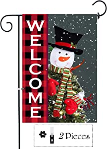 Didida Home Christmas Garden Flag Snowman Welcome Yard Decor Flag Decorative Winter Xmas Flag Holiday Farmhouse Outdoor Double Sided Christmas Outside Decorations Banners Yard Signs with Clip Stopper