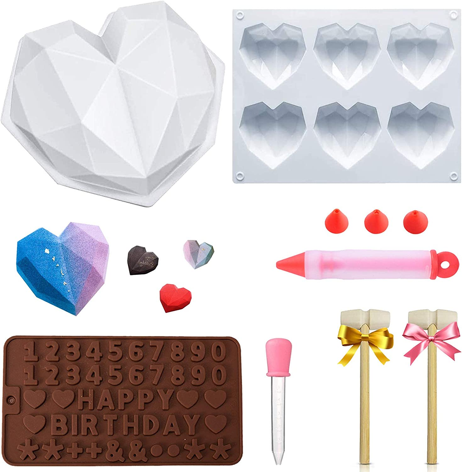 Silicone Sphere Mold Heart Molds for Chocolate Trays Breakable Heart 6 Cup 3D Small Geometric Diamond and Round Shapes Cake Pan with Wooden Harmmer Silicone Brush Cake Decorator for Diy Baking Tools