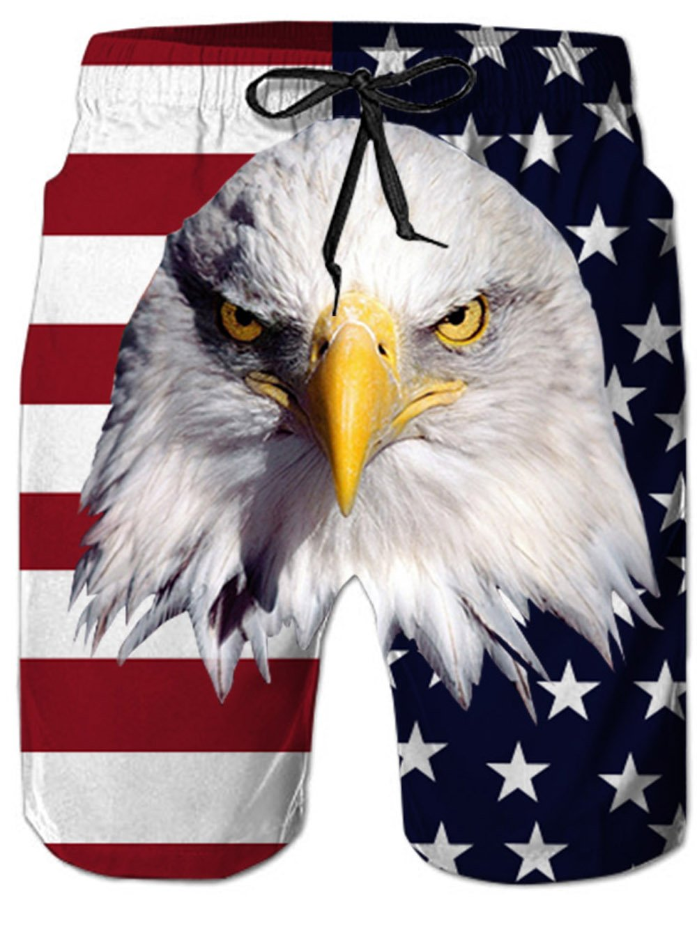 Leapparel Comfortable Mens Swim Trunks with Mesh Lining American Bald Eagle Head Printed Swimming Board Short